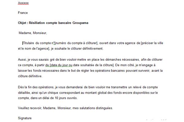 Lettre de résiliation Groupama