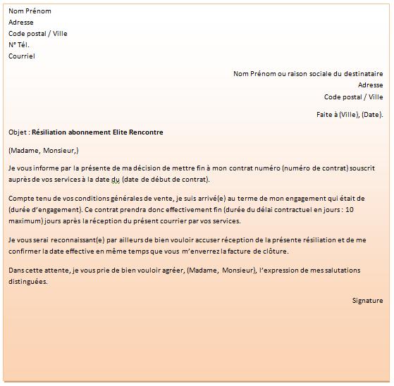 lettre resiliation site rencontre