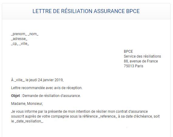 un modèle de lettre de résiliation assurance maison bpce