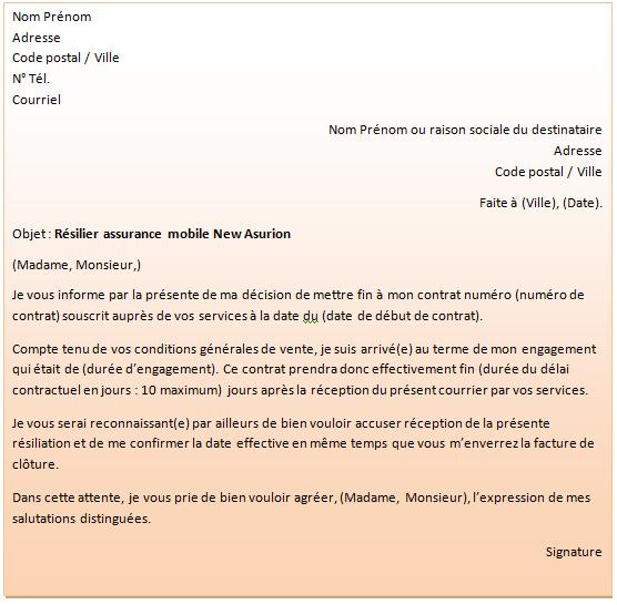 lettre résiliation assurance mobile New Asurion
