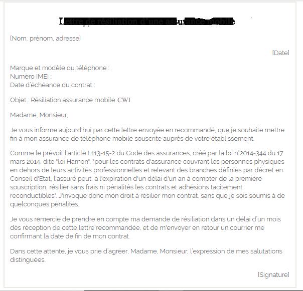 lettre de résiliation cwi