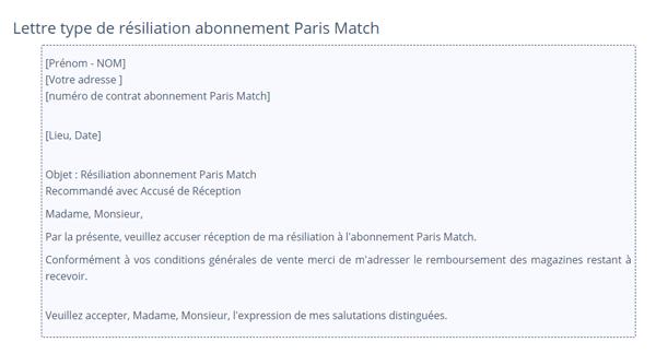 Adresse résiliation paris match