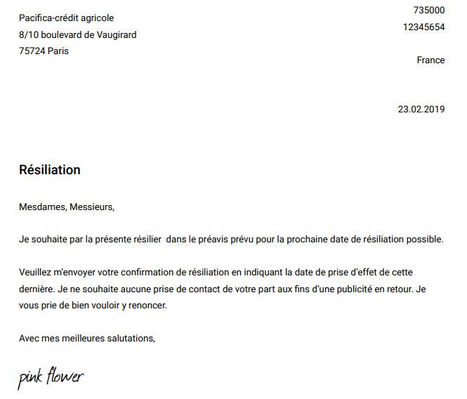 lettre de résiliation de contrat Pacifica