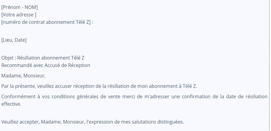 modèle de lettre de résiliation à Télé z canalsat