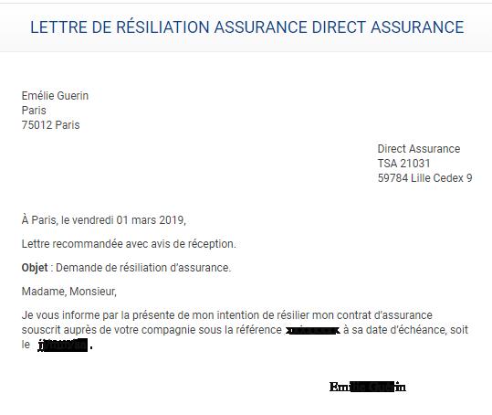 Modèle de lettre de résiliation Direct Assurance ( véhicule, moto, habitation ou emprunteur).