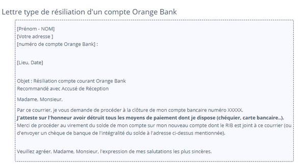 Lettre de cloture orange bank