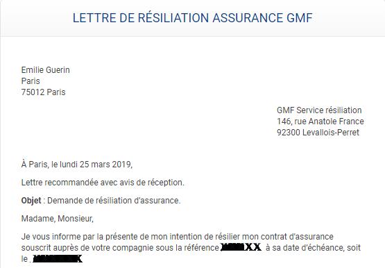 modèle de lettre de résiliation d'une assurance habitation GMF