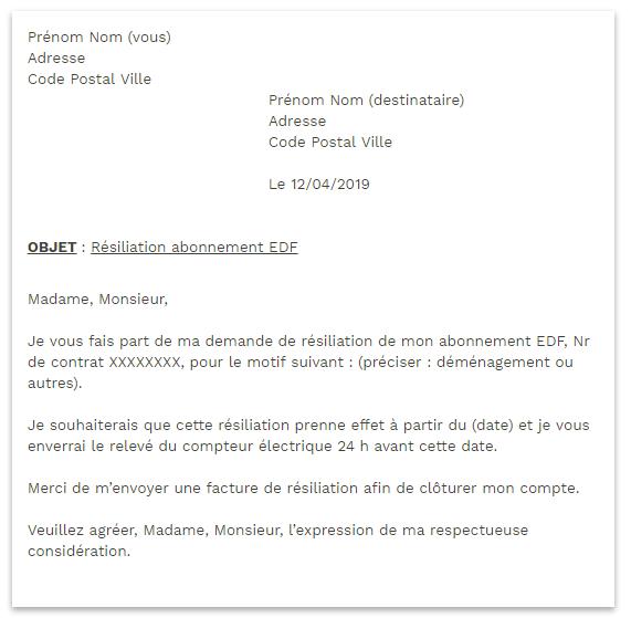 Modèle d'une lettre de résiliation d'un contrat EDF