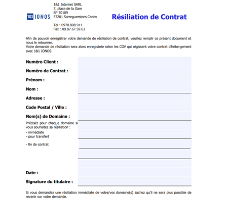 formulaire d'annulation d'un contrat One and One