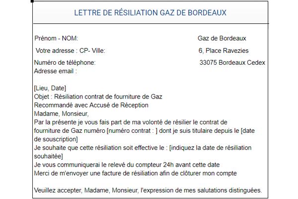 Modèle de lettre de résiliation d'un contrat de Gaz