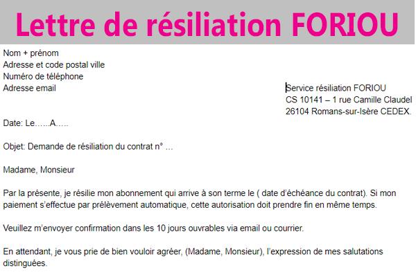 Modèle de lettre de résiliation Foriou