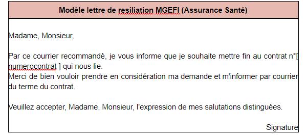Modèle de lettre de résiliation mgefi